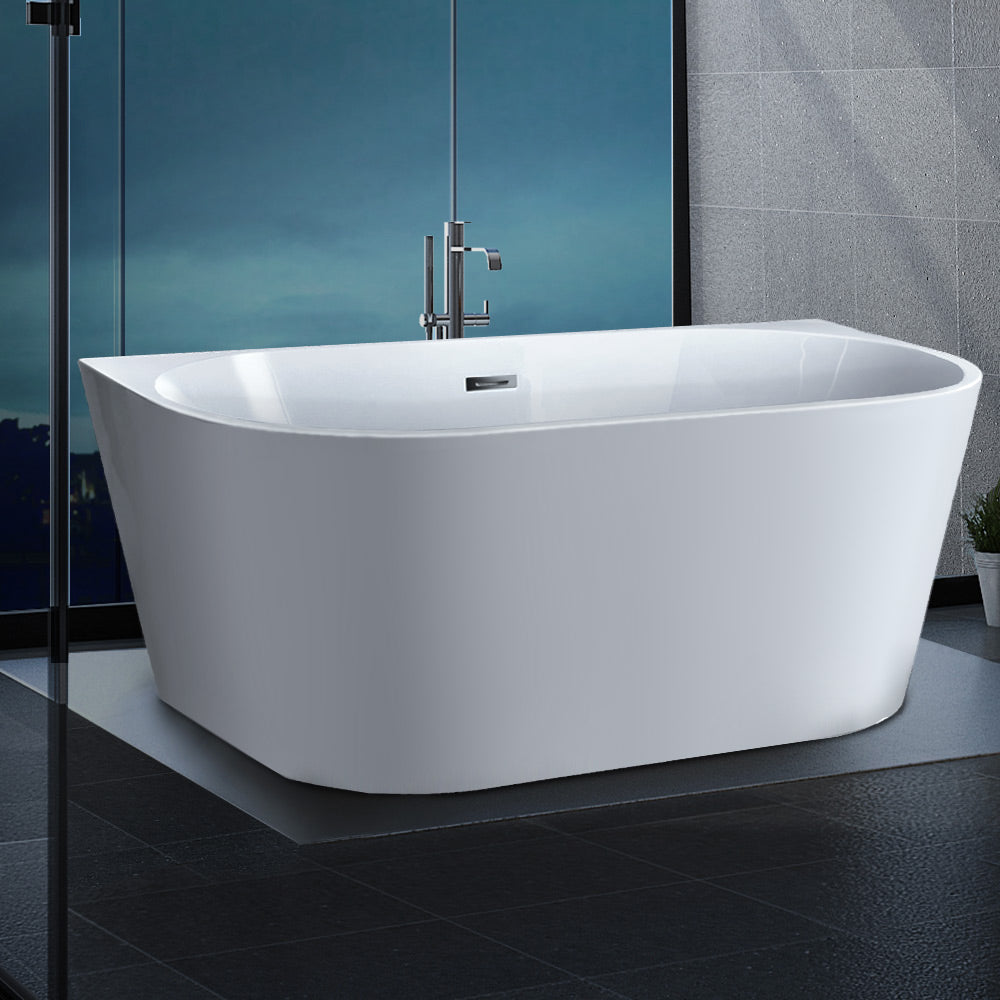 Cefito Free Standing Bath Tubs Acrylic Bathroom Back To Wall SPA Tub 170X75X58CM