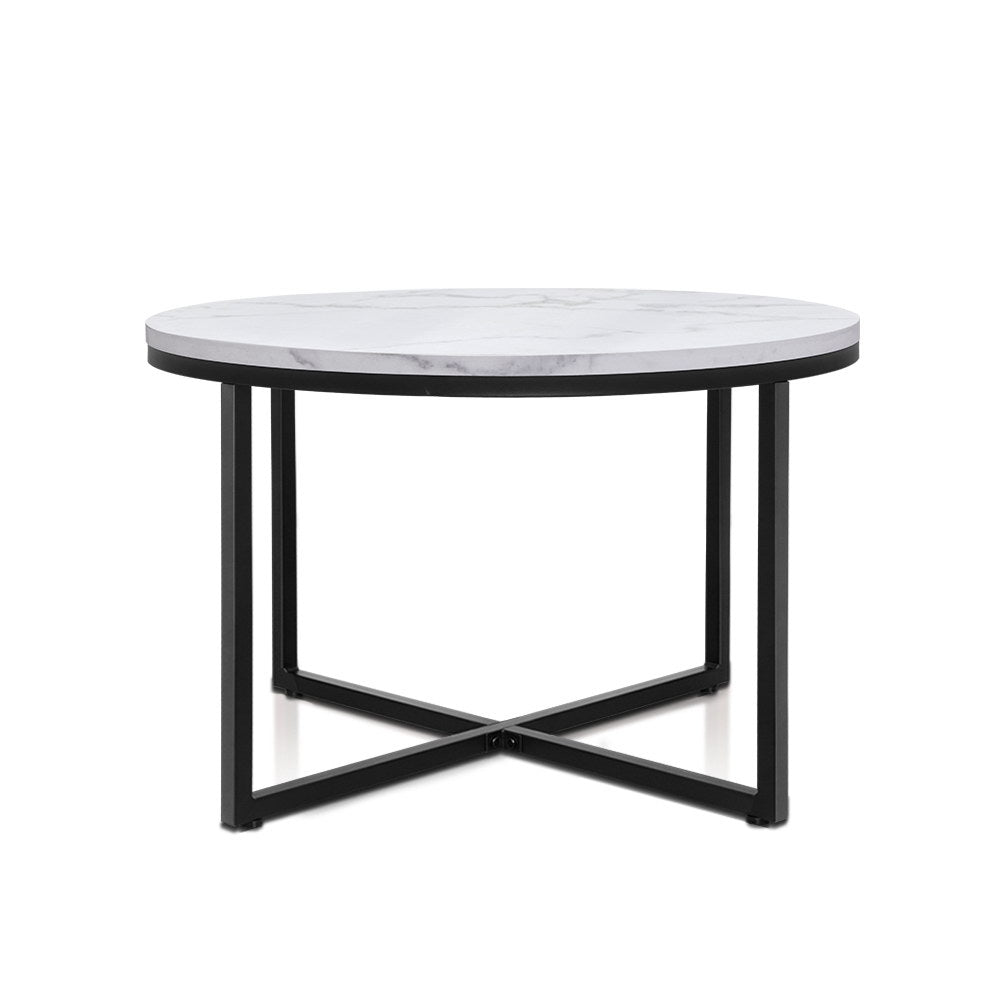 Artiss Coffee Table Marble Effect Side Tables Bedside Round Black Metal 70X70CM