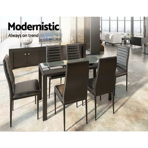 Artiss Astra 7-Piece Set Tempered Glass Dining Set Table and 6 Chairs Black