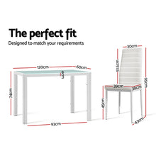 Load image into Gallery viewer, Artiss Astra 7-piece Dining Table and Chairs Dining Set Tempered Glass Leather Seater Metal Legs White