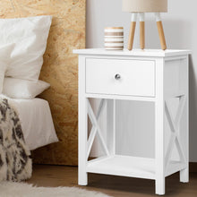 Load image into Gallery viewer, Bedside Table Coffee Side Cabinet Drawer Wooden White