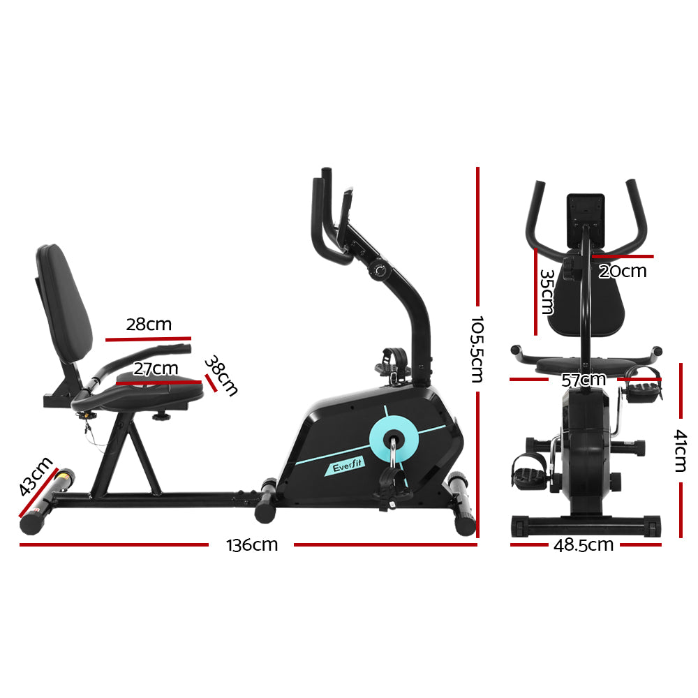 Everfit Magnetic Recumbent Exercise Bike Fitness Cycle Trainer Gym Equipment