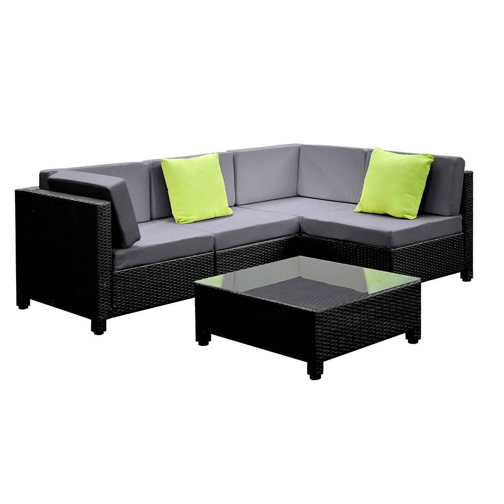 Gardeon 5 Piece PE Wicker Outdoor Sofa - Black & Grey