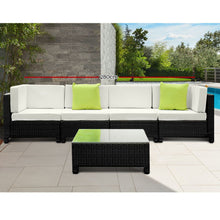 Load image into Gallery viewer, Gardeon 5 Piece PE Wicker Outdoor Sofa - Black & Grey