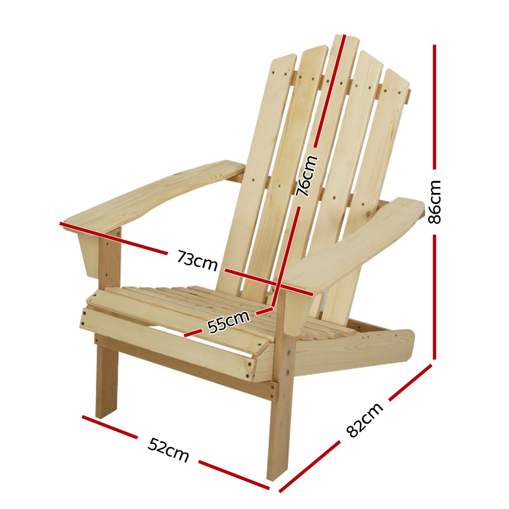 Gardeon Outdoor Sun Lounge Beach Chairs Table Setting Wooden Adirondack Patio Chair Light Wood Tone