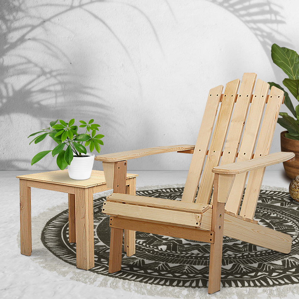 Gardeon Outdoor Sun Lounge Beach Chairs Table Setting Wooden Adirondack Patio Chair Lounges Wood