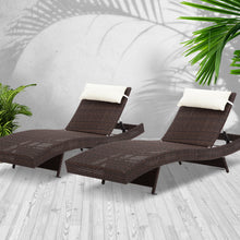 Load image into Gallery viewer, Gardeon Set of 2 Outdoor Wicker Sun Lounges - Brown