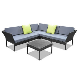 Gardeon 6 Piece Outdoor Wicker Sofa Set - Black
