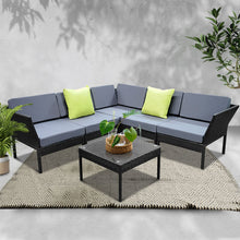 Load image into Gallery viewer, Gardeon 6 Piece Outdoor Wicker Sofa Set - Black