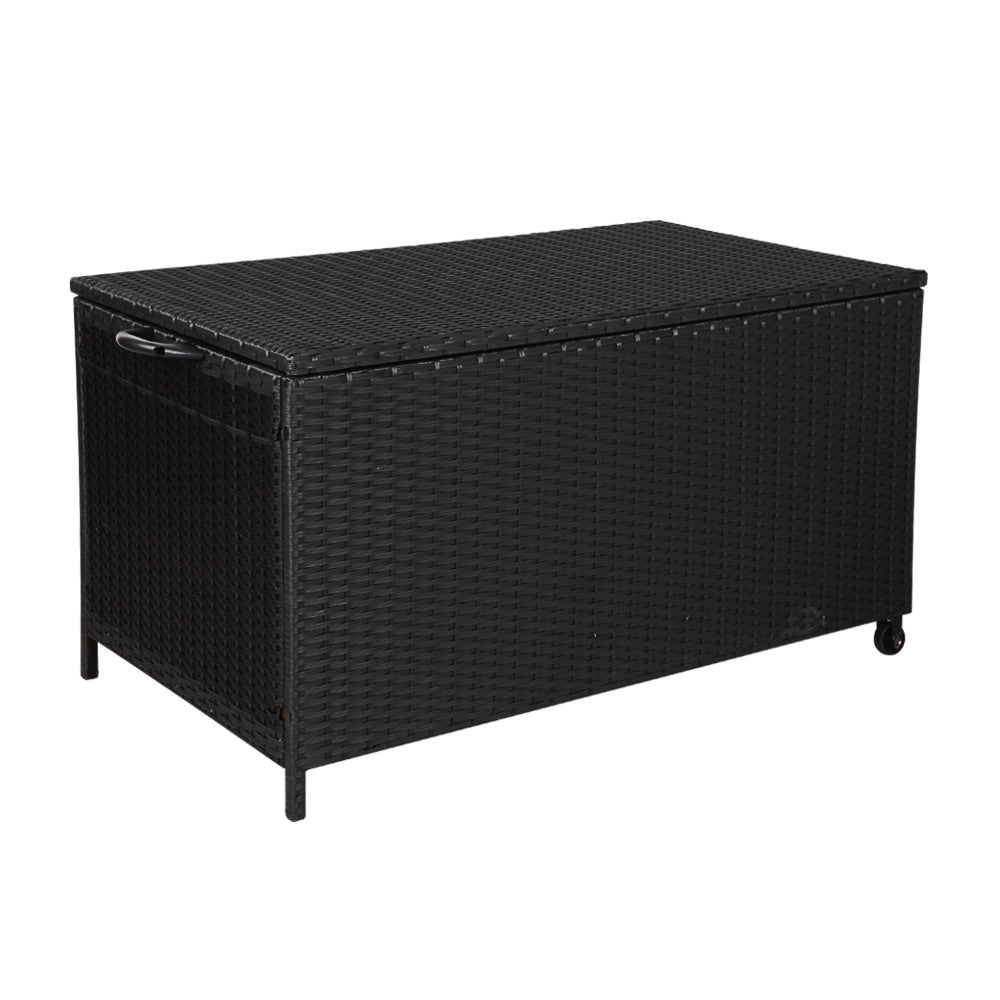 Gardeon 320L Outdoor Wicker Storage Box - Black