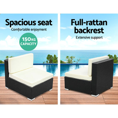 2PC Gardeon Outdoor Furniture Sofa Set Wicker Rattan Garden Lounge Chair Setting - FF-SOFA-BK-C
