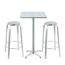 Load image into Gallery viewer, Gardeon Outdoor Bistro Set Bar Table Stools Adjustable Aluminium Cafe 3PC Square