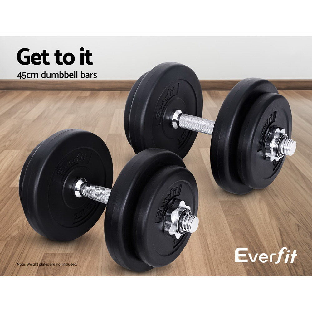Everfit 45cm Solid Steel Dumbbell Bar Pair Gym Home Exercise Fitness 150KG Cap