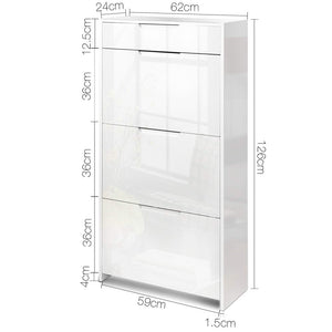 Artiss 24 Pair High Gloss Wooden Shoe Cabinet - White SKU- FURNI-C-SHOE-DD4-WH-AB
