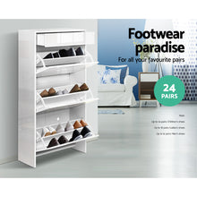 Load image into Gallery viewer, Artiss 24 Pair High Gloss Wooden Shoe Cabinet - White SKU- FURNI-C-SHOE-DD4-WH-AB