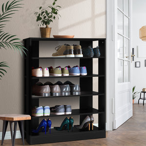 Artiss Shoe Cabinet Shoes Organiser Storage Rack 30 Pairs Black Shelf Wooden SKU- FURNI-C-SHOE-R5-BK