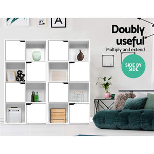 Artiss Display Shelf 8 Cube Storage 4 Door Cabinet Organiser Bookshelf Unit White SKU- FURNI-E-CUB9-WH