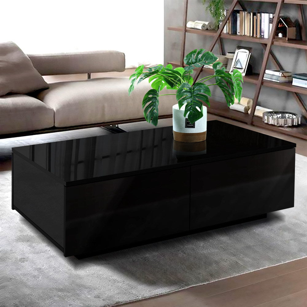 Artiss Modern Coffee Table 4 Storage Drawers High Gloss Living Room Furniture Black