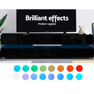 Artiss TV Cabinet Entertainment Unit Stand RGB LED Gloss Furniture 177cm Black SKU- FURNI-L-LED-GS-TV177-BK-AB