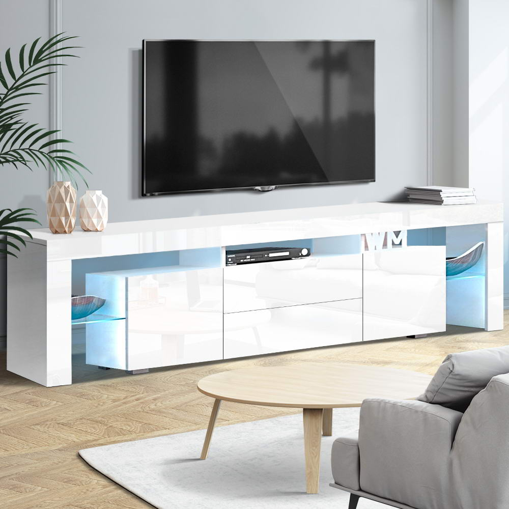 Artiss TV Cabinet Entertainment Unit Stand RGB LED Gloss Furniture 200cm White