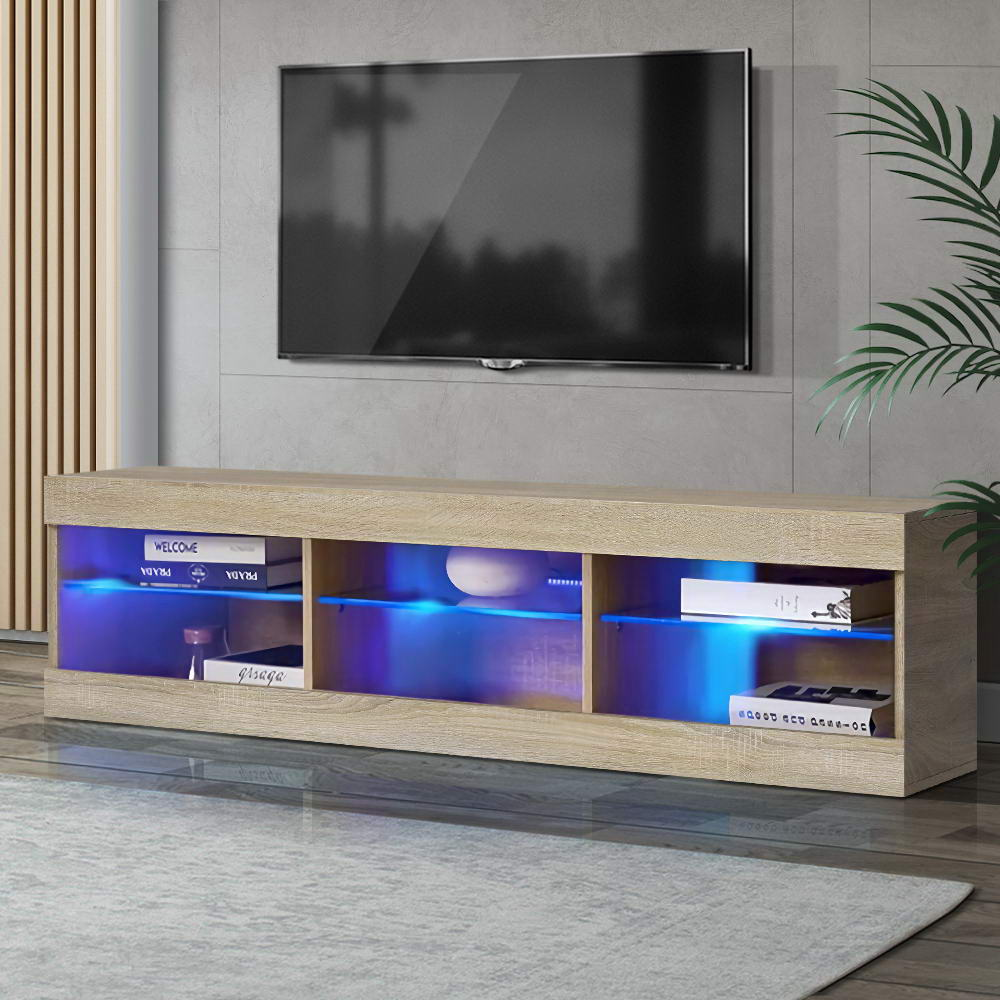 Artiss TV Cabinet Entertainment Unit Stand RGB LED Glass Shelf Storage 150cm Oak