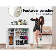 Load image into Gallery viewer, Artiss Shoe Cabinet Shoes Storage Rack High Gloss Organiser Drawer Cupboard Door SKU- FURNI-M-SHOE-95-WH-ABC