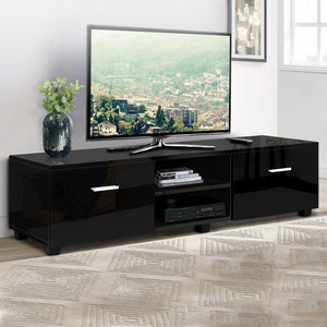 Artiss 140cm High Gloss TV Cabinet Stand Entertainment Unit Storage Shelf Black SKU- FURNI-N-GS-TV01-BK-AB
