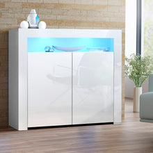 Load image into Gallery viewer, Artiss Buffet Sideboard Cabinet LED High Gloss Storage Cupboard 2 Doors White SKU- FURNI-N-LED-SID01-WH-AB