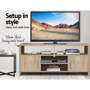 Artiss TV Cabinet Entertainment Unit Stand Storage Shelf Sideboard 140cm Oak SKU- FURNI-N-TV02-NT-AB