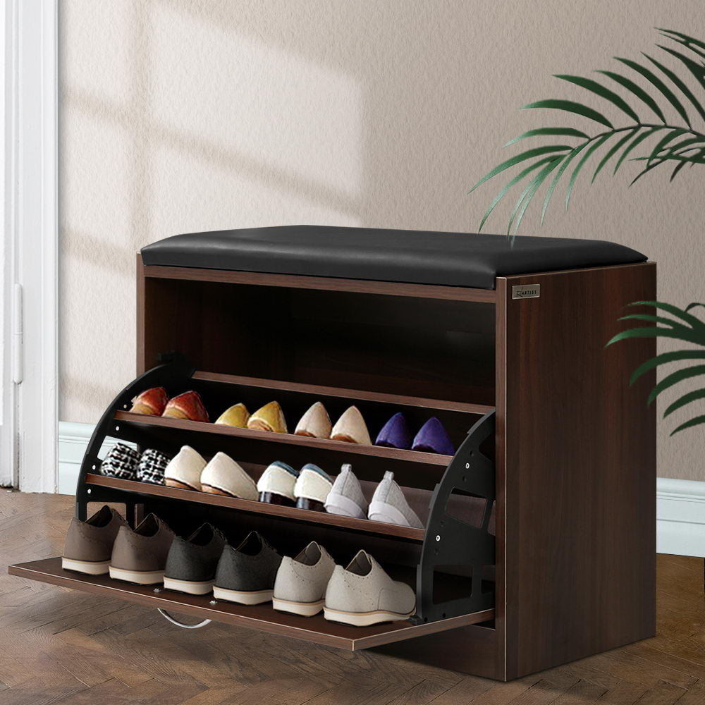 Artiss Shoe Cabinet Bench Shoes Storage Rack Organiser Drawer 15 Pairs Walnut