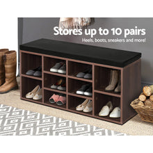 Load image into Gallery viewer, Artiss Shoe Cabinet Bench Shoes Storage Rack Organiser Shelf Cupboard Box Walnut SKU- FURNI-O-SHOE-BEN102-WAL