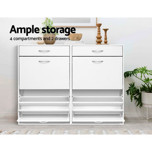 Artiss 36 Pairs Shoe Cabinet Rack Organisers Storage Shelf Drawer Cupboard White SKU- FURNI-SHOE-NEW4D-WH-AB