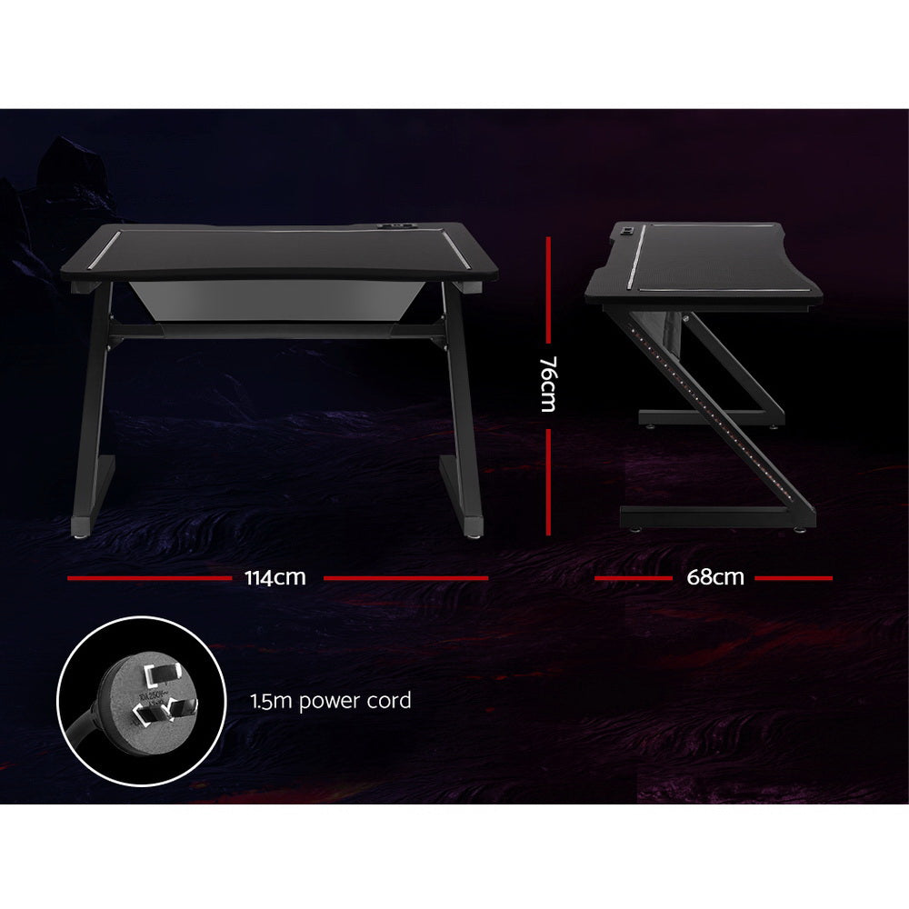 Artiss Gaming Desk Home Office Computer Carbon Fiber Style LED Racer Table