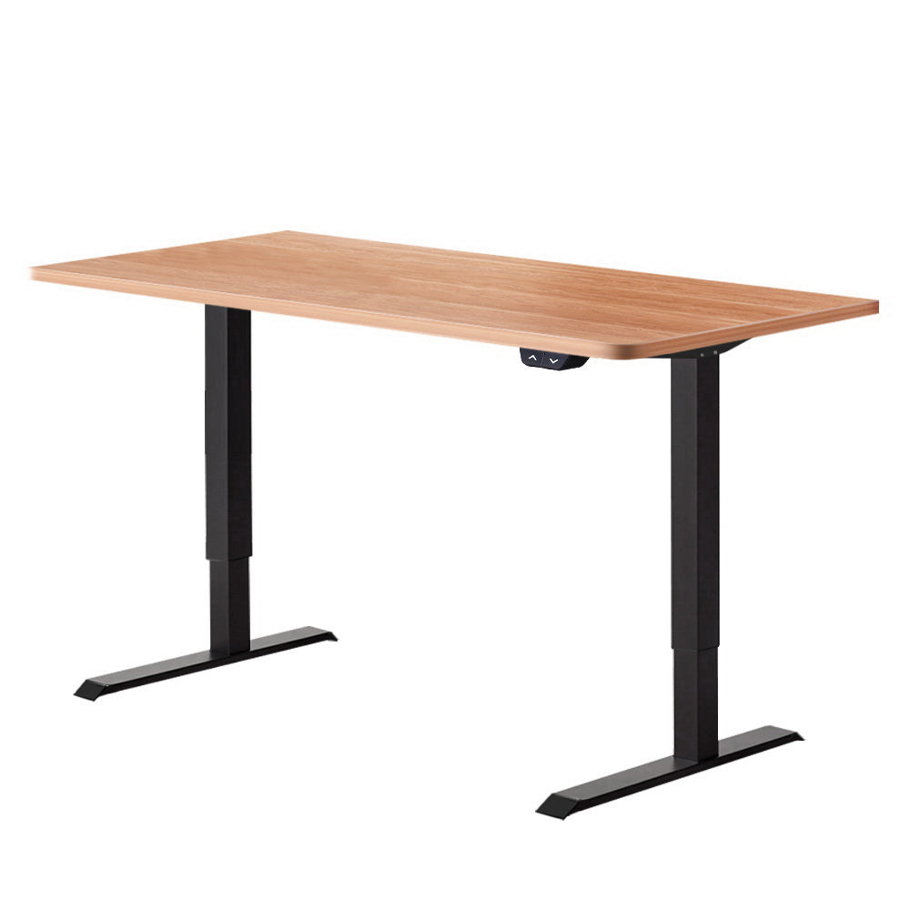 Electric Motorised Height Adjustable Standing Desk - Black Frame with 140cm Natural Oak Top