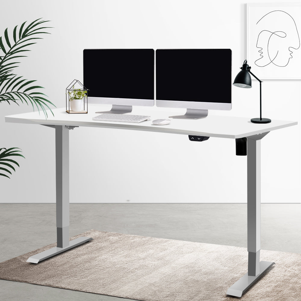 Artiss Standing Desk Sit Stand Table Height Adjustable Motorised Frame Riser 140cm Curved Desk Top