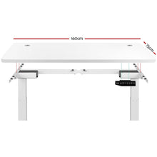 Load image into Gallery viewer, Electric Motorised Height Adjustable Standing Desk - White Frame with 160cm White Top  HASD-204-WHDF-WHDB-160
