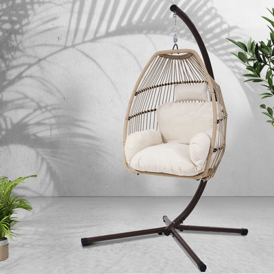 Mid Century Rattan Chair, Gardeon Outdoor Furniture Egg Hanging Swing Chair Stand Wicker Rattan Culture
