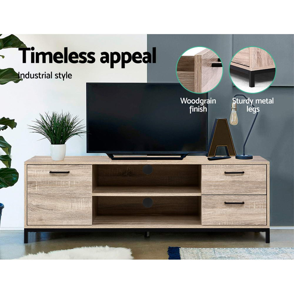 Artiss TV Cabinet Entertainment Unit Stand Industrial Wooden Metal Frame 132cm Oak