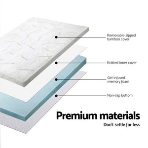 Giselle Bedding COOL GEL Memory Foam Mattress Topper BAMBOO Cover Single 8CM Mat