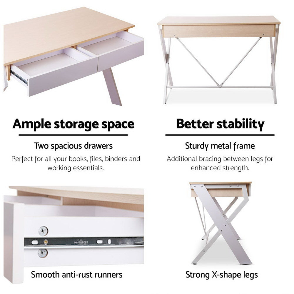 Artiss Metal Desk with Drawer - White with Oak Top