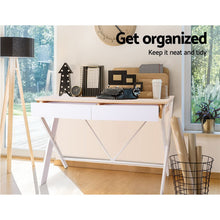 Load image into Gallery viewer, Artiss Metal Desk with Drawer - White with Oak Top