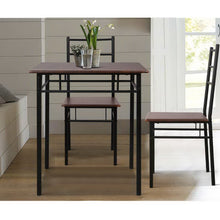 Load image into Gallery viewer, Artiss Metal Table and Chairs - Walnut & Black