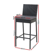 Load image into Gallery viewer, Gardeon Outdoor Bar Stools Dining Chairs Rattan Furniture X4