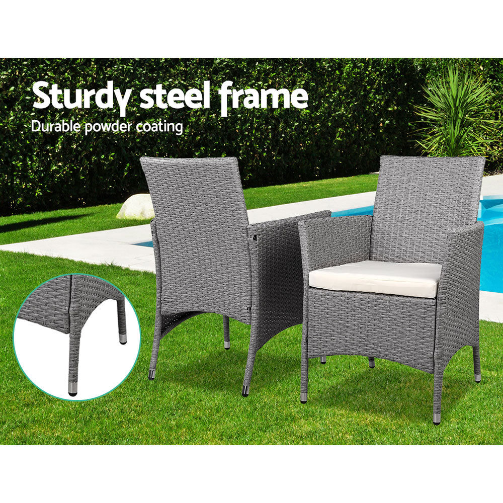 3 Piece Wicker Outdoor Chair Side Table Furniture Set - Grey