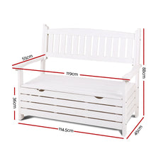 Load image into Gallery viewer, Gardeon Outdoor Storage Bench Box Wooden Garden Chair 2 Seat Timber Furniture White