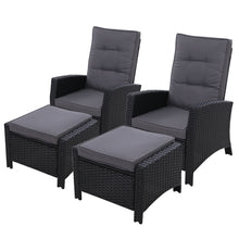 Load image into Gallery viewer, 2PC Sun lounge Recliner Chair Wicker Lounger Sofa Day Bed Outdoor Chairs Patio Furniture Garden Cushion Ottoman Gardeon