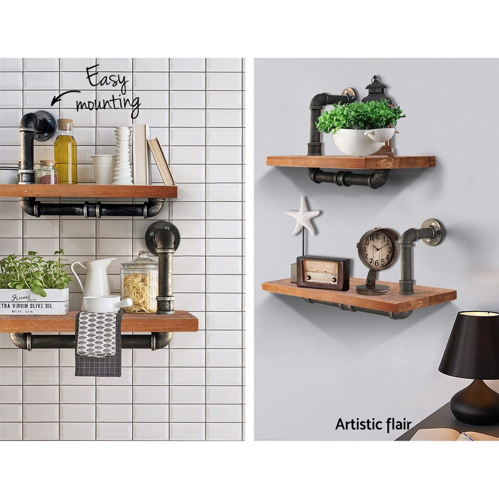 Artiss Wall Shelves Rustic Bookshelf Retro Display Shelves Industrial DIY Pipe Shelf Floating Brackets