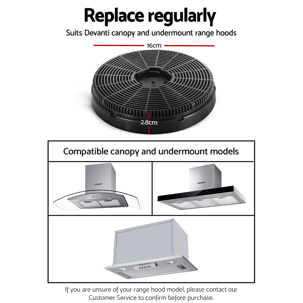 Devanti Range Hood Rangehood Carbon Charcoal Filters Under Cupboard Replacement For Ductless Ventless