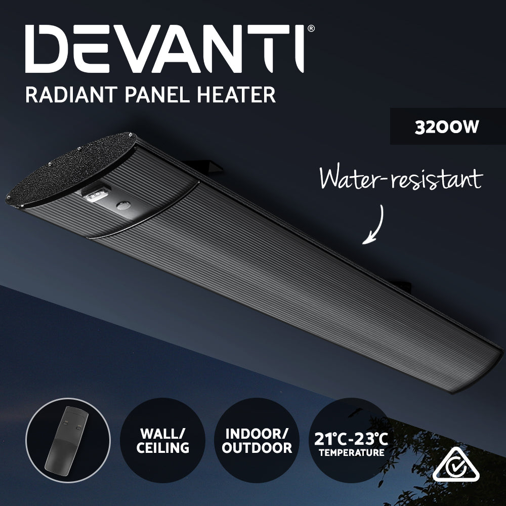 Devanti 3200 Electric Infrared Radiant Strip Panel Heater Bar Remote Control