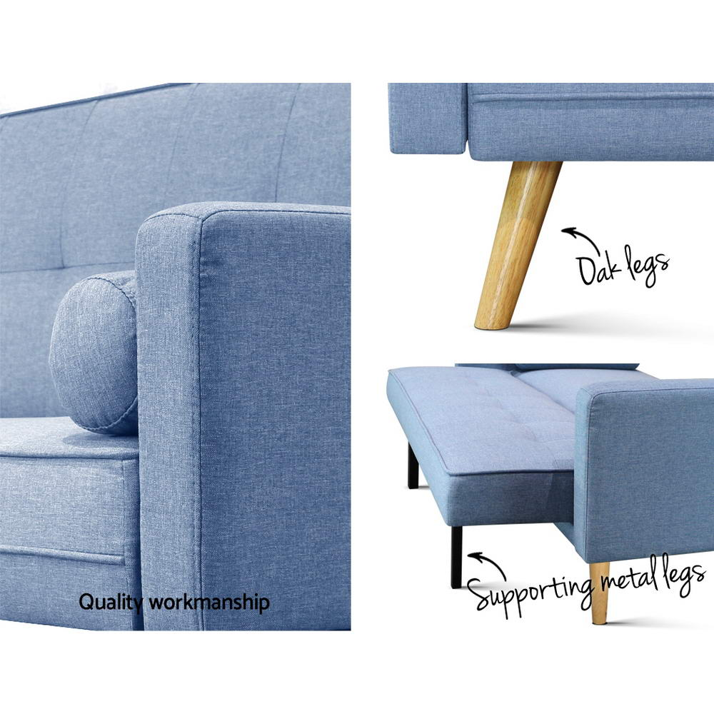 Artiss 3 Seater Fabric Lounge Chair - Blue